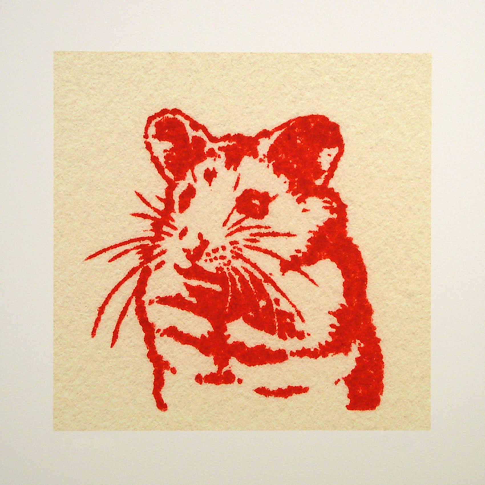 "Fred; red; 2007; image size 10"" x 10"""