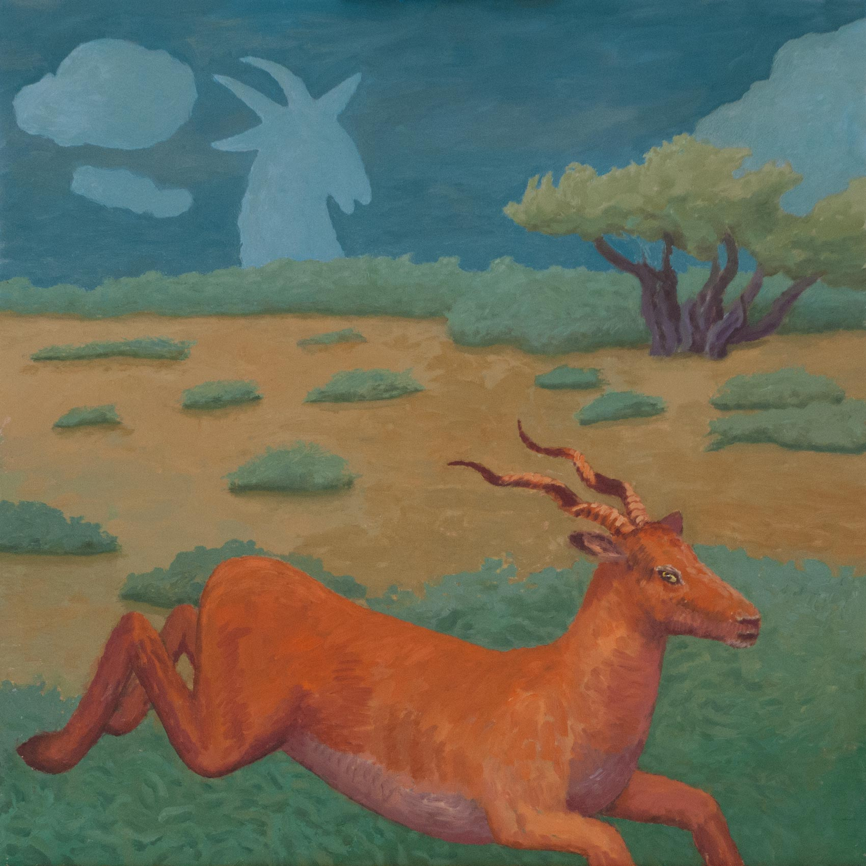 "Bovidae (Old God); 1986; oil on panel; 24"" x 24"""