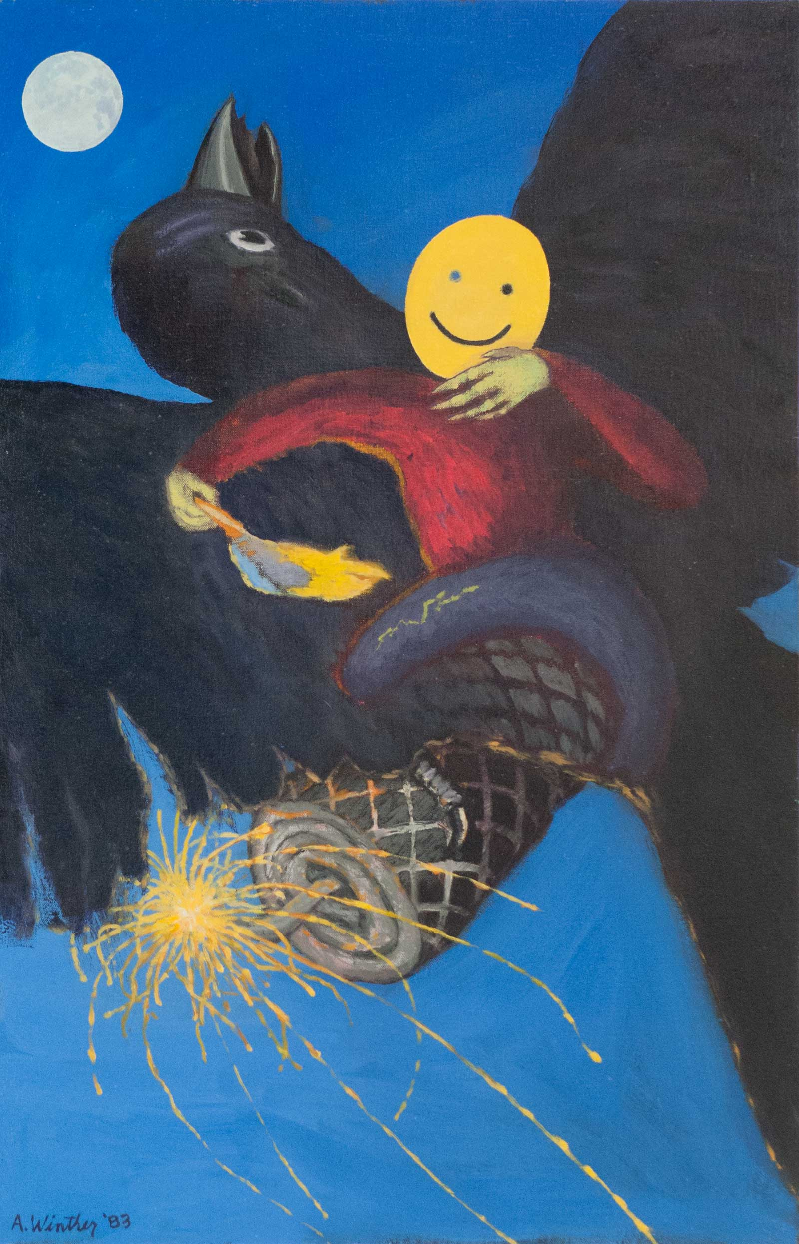 "Dark Sparks; 1983; oil on canvas; 28"" x 18"""