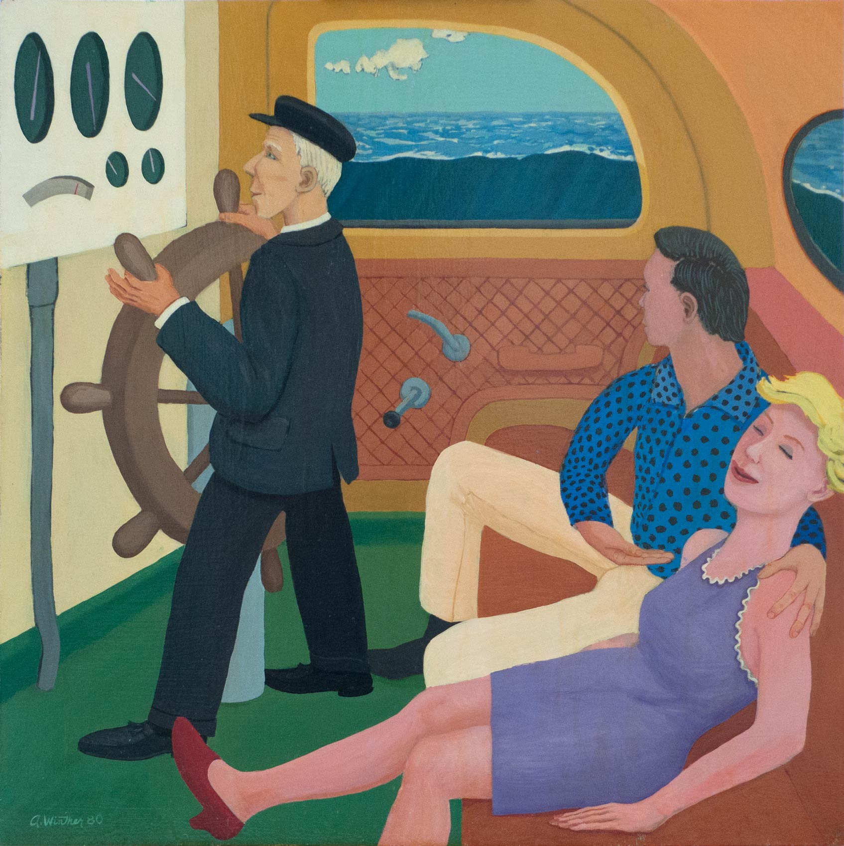 "Dreamboat; 1980; oil on panel; 24"" x 24"""
