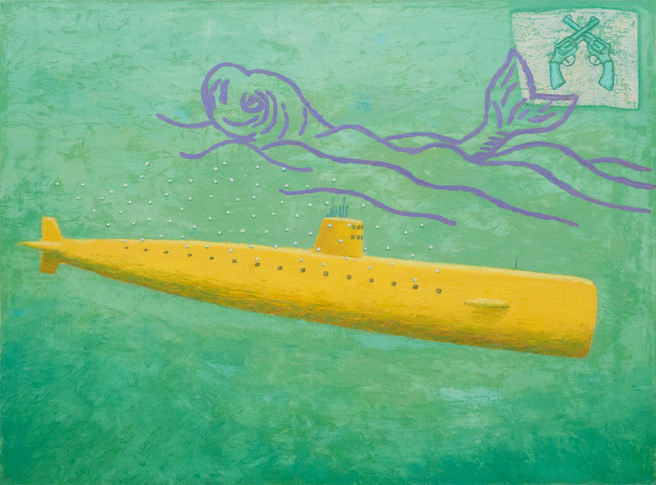 "Gelb Unterseeboot; 1989; oil on canvas; 18"" x 24"""