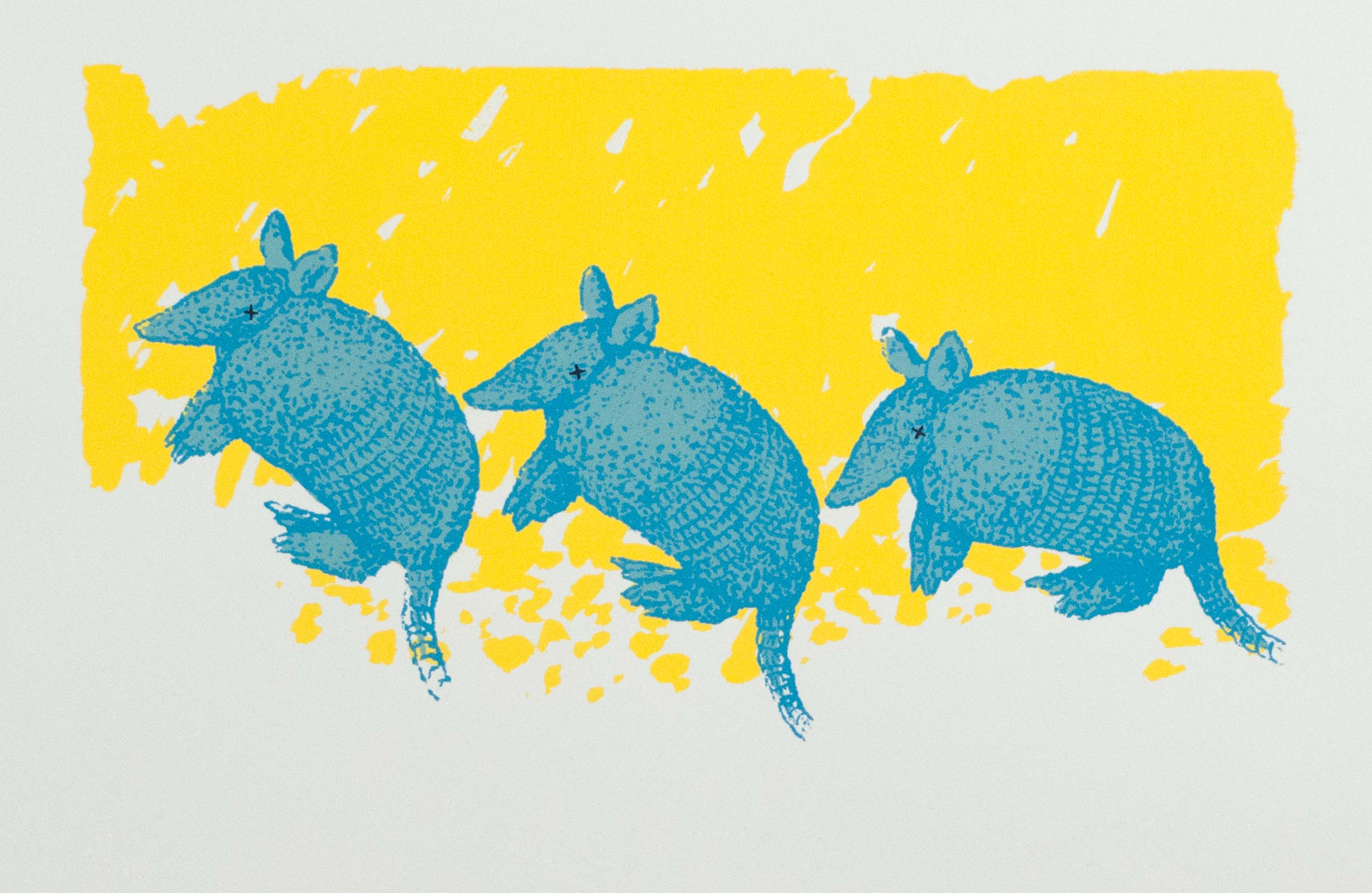 "Three Blind Armadillos; 1983; silkscreen print; edition of 30; image size 5"" x 8.5"""